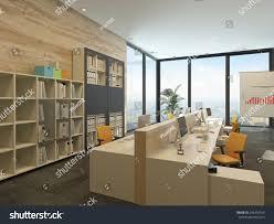 3d rendering modern openplan office multiple stock illustration