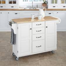 home styles create a cart large cart white finish with wood top