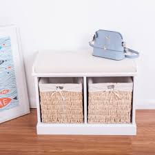 White Wood Storage Bench Btm 2 Seater Wooden Storage Bench Seagrass Wicker Storage Baskets