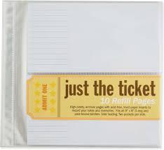 ticket stub album just the ticket refill sheets co uk pauper press