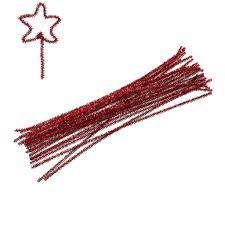 chenille stick pipe cleaner craft diy making christmas red 30cm 11