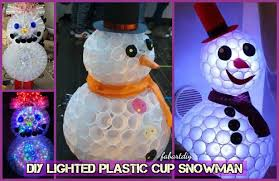 Plastic Outdoor Snowman Christmas Decorations by Diy Plastic Cup Snowman Lights Christmas Decor Tutorial