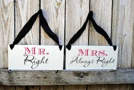 Bride And Groom Chair Signs Mr Right Mrs Always Right And Bride And Groom Chair Signs Double