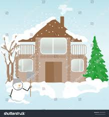 home design for new year background new year design house snowman stock vector 477035038