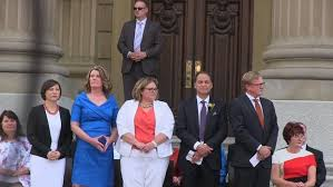 Cabinet Ministers Alberta Premier Rachel Notley And Cabinet Sworn In While Thousands Watch