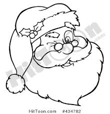 santa clipart 434782 outlined winking santa face hit toon