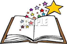 royalty free clipart image open book stars coming