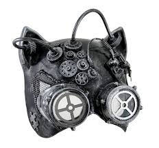 steamkitty metallic finish steampunk cat woman with goggles