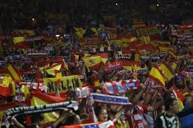 Flags In Spanish Barcelona Met With Wash Of Spanish Flags In Atletico Madrid The