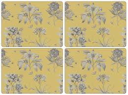 sanderson for pimpernel etchings and roses yellow placemats set of