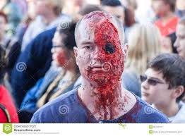 man dresses like zombie missing eyeball at georgia halloween