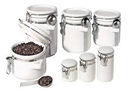 white kitchen canister sets ceramic oggi 7 ceramic airtight canister set white
