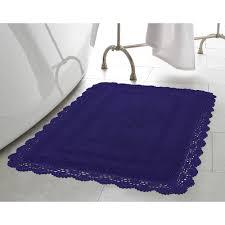 Crochet Bathroom Rug by Garland Rug Beach Stripe Indigo Blue White 21 In X 34 In Bath