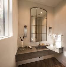 Beachy Bathroom Mirrors by Powder Room Mirror Contemporary With Sconces Yellow Bathroom Mirrors