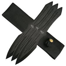 rite edge black 10 inch throwing knives 3 piece set with sheath