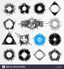 set of retro sun burst shapes vector collection of trendy