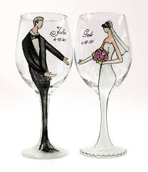 wine glasses for wedding these personalized bridal wine glasses painted by local