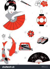 japanese style set objects japanese style vector illustration stock vector