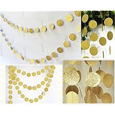 fecedy hanging circle dots paper glitter chagne gold