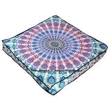 peacock mandala floor pillow bohemian indian ottoman square pouf cover