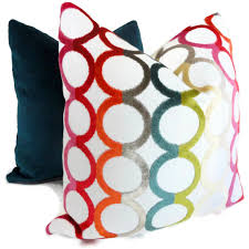 Contemporary Throw Pillows For Sofa by Jonathan Adler Decorative Pillow Cover Multicolor Ringleader