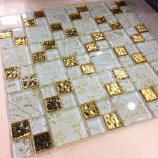 gold foil glass mosaic tile glass brick livingroom glass mosaic