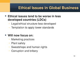 ethical issues in marketing ppt ethical issues in the global arena powerpoint presentation