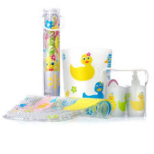 very cute bathroom accessories for kids with playful shapes and