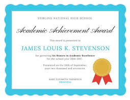 academic award certificate template award certificate templates