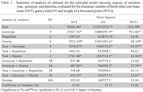Density Table Seeding Density In Wheat Genotypes As A Function Of Tillering