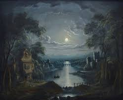 an extremely fine early 19th century oil painting on canvas depicting a moonlit river scene which