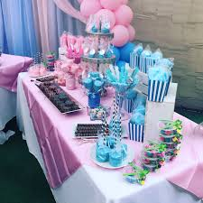 baby shower candy table that we made for a gender reveal party