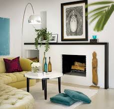 black fireplace mantel living room contemporary with beige blinds