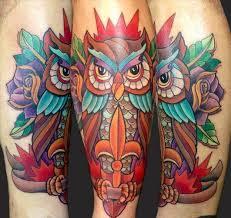 owl and roses by matt stebly tattoos