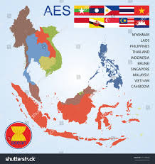 Map Of Countries Asean Economics Community Aec Map Countries Stock Vector 371185844