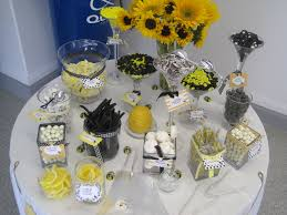 candy bar for a bumble bee themed baby shower party ideas