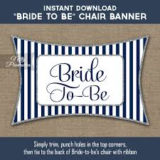 Bridal Shower Chair Printable Bridal Shower Chair Banner Navy Blue Silver Stripe