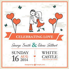 cartoon couple wedding card template vector free download
