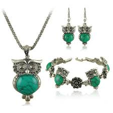 owl jewelry necklace images Turquoise owl necklace bracelet and earrings jewelry set jpg