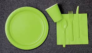 lime green paper plates napkins and cups 2 order