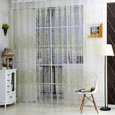 Balcony Door Curtains Amazon Com Comemall Thin See Through Leaves Pattern Curtain