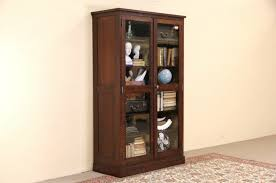 antique display cabinets with glass doors sold art crafts mission oak 1910 antique bookcase or display