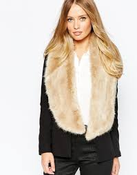 ted baker faux fur textured long scarf in natural lyst