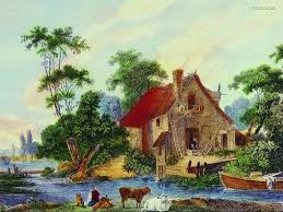 western art painting landscape oil painting wallpaper 10
