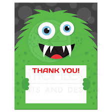 monster thank you cards flat note cards with green monster