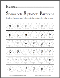 shamrock alphabet patterns worksheet student handouts