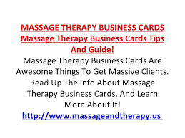 Massage Therapy Business Cards Massage Therapy Business Cards
