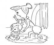 pebbles crib flintstones 6095 coloring pages printable
