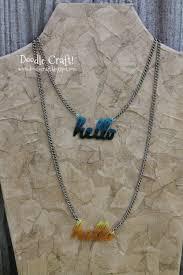 acrylic name necklace doodlecraft hello custom acrylic word necklace with shrinky dinks