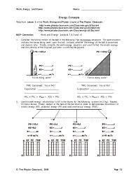 physics classroom energy worksheet answers 28 images